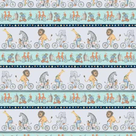 Bike Ride Y2856-118 Pewter Pictorial Stripe
