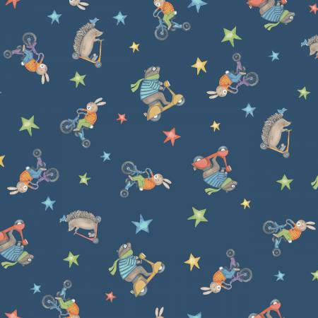 Bike Ride Navy Blue Animal Toss Y2857-53