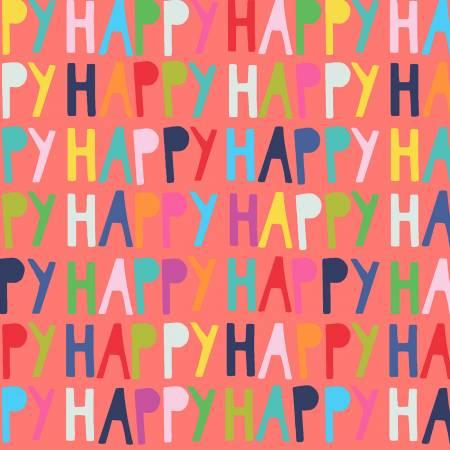 Happy-Happy Words-Coral