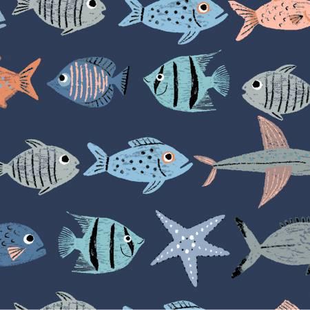 Oceans Away Y2930-93 Light Navy Fish School