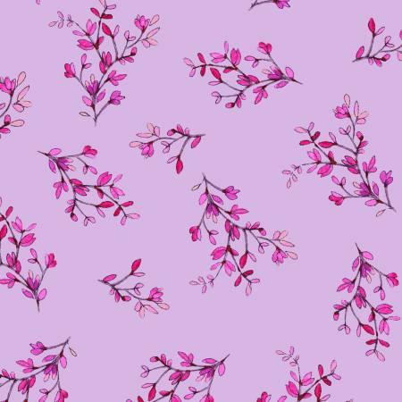 Y2937 26 Light Purple Spring Sprigs Radiance for Clothworks Fabrics. 100% cotton 43 wide