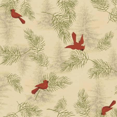 Clothworks Let Nature Sing Y2984-60 Dark Butter Cardinals