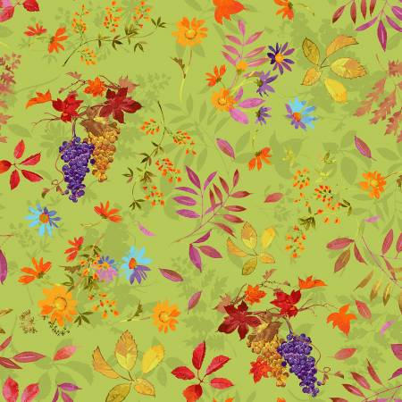 Y3000 24 Olive Fall Bounty Autumn Air for Clothworks Fabrics. 100% cotton 43 wide