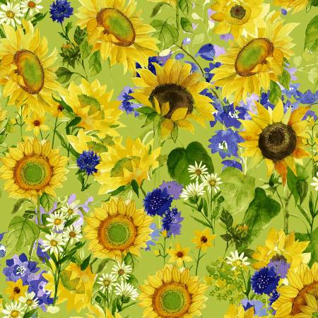 SPECIALTY FABRICS:  Sunflowers, Daisies, and Purple Bachelor Buttons on Green:  Sunny Fields by Sue Zipkin for Clothworks