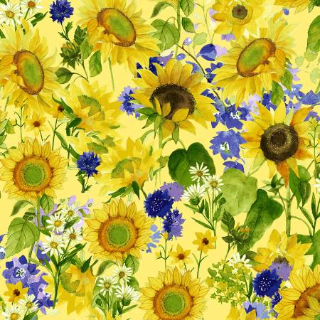 SPECIALTY FABRICS:  Sunflowers, Daisies, and Purple Bachelor Buttons on Yellow:  Sunny Fields by Sue Zipkin for Clothworks