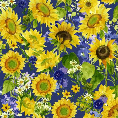 SPECIALTY FABRICS:  Sunflowers, Daisies, and Purple Bachelor Buttons on Purple:  Sunny Fields by Sue Zipkin for Clothworks