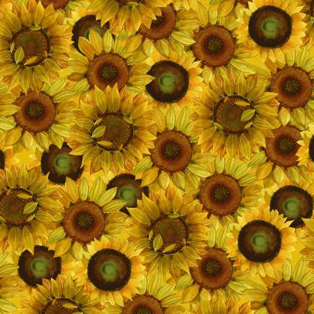 SPECIALTY FABRICS:   Packed Dark Gold Sunflowers:  Sunny Fields by Sue Zipkin for Clothworks