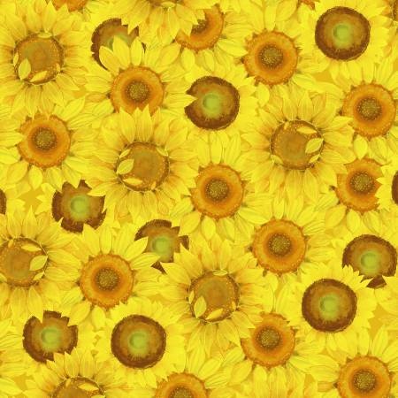 SPECIALTY FABRICS:   Packed Yellow Sunflowers:  Sunny Fields by Sue Zipkin for Clothworks