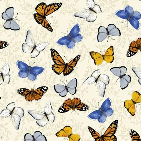 SPECIALTY FABRICS:  Butterflies on Cream:  Sunny Fields by Sue Zipkin for Clothworks