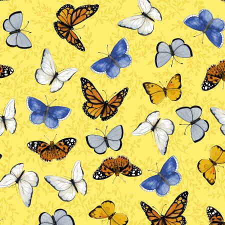 SPECIALTY FABRICS:  Butterflies on Yellow:  Sunny Fields by Sue Zipkin for Clothworks