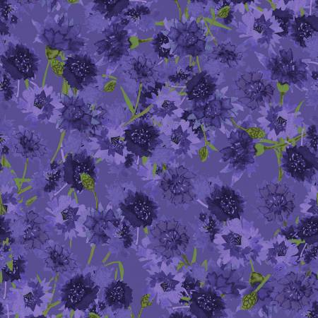 SPECIALTY FABRICS:   Purple Bachelor Buttons:  Sunny Fields by Sue Zipkin for Clothworks