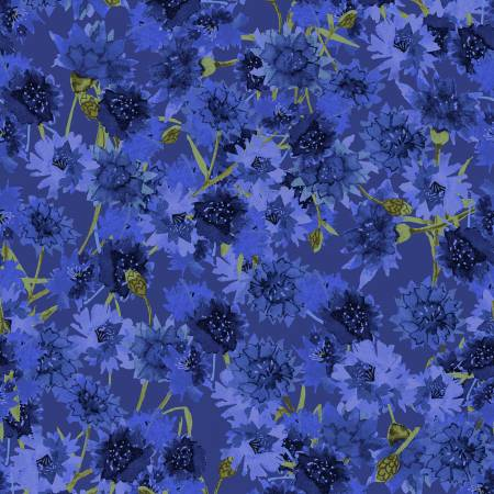 SPECIALTY FABRICS:   Royal Blue Bachelor Buttons on Purple:  Sunny Fields by Sue Zipkin for Clothworks