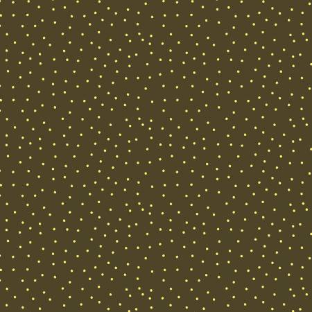 SPECIALTY FABRICS:  Yellow Mini Dots on Brown:  Sunny Fields by Sue Zipkin for Clothworks