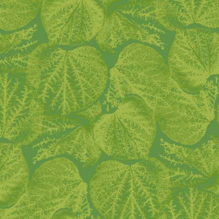 Y3056 20 Light Green Leaves Flower Power for Clothworks Fabrics. 100% cotton 43 wide
