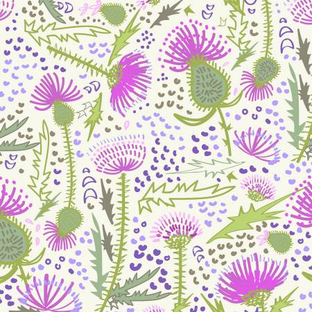 Y3064-2 Light Cream Garden Thistle Patch Clothworks