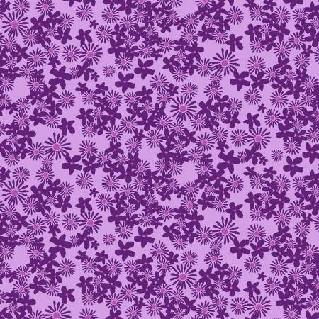Y3074 44 Light Eggplant Daisy Field Painted Petals for Clothworks Fabrics. 100% cotton 43 wide