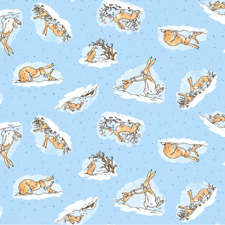 Denim Guess How Much I Love You Bunny Fabric by the Yard