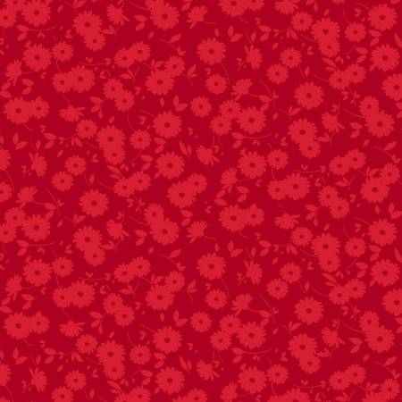 Red Dainty Floral - Ruby Night by Clothworks