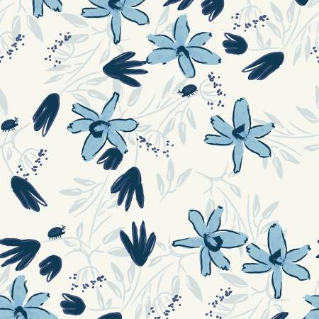 Y3099-116 Mist Gray Floral Blue Goose by meags & me Clothworks