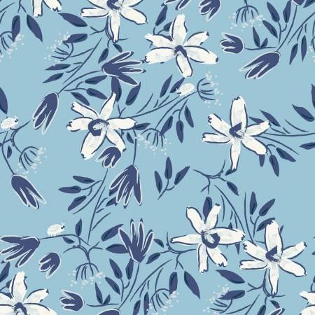 Y3099-29 Light Blue Floral Blue Goose by meags & me Clothworks