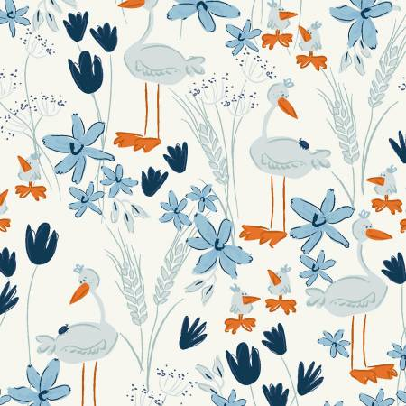 Y3100-116 Mist Gray Geese Blue Goose by meags & me Clothworks
