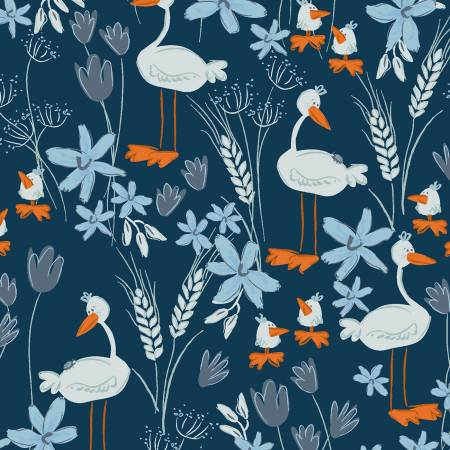 Y3100-53 Navy Geese Blue Goose by meags & me Clothworks