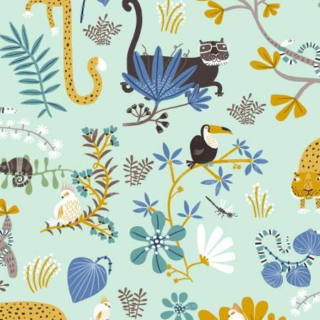 Y3111-100 Jungle Jive - Turquoise Animal Play