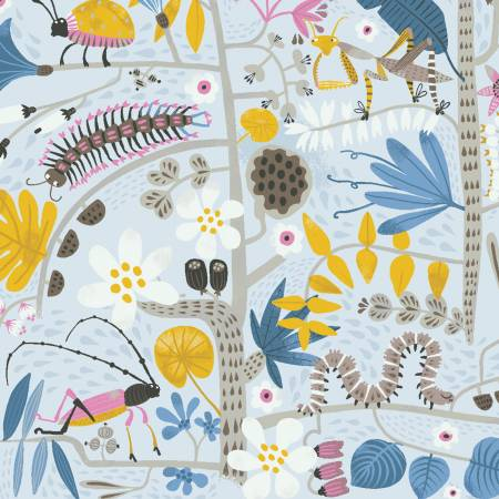 Y3113-5 Jungle Jive - Light Grey Insects
