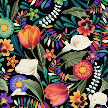 Y3130-3 Black Packed Floral