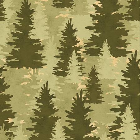 Green Pine Trees on Flannel