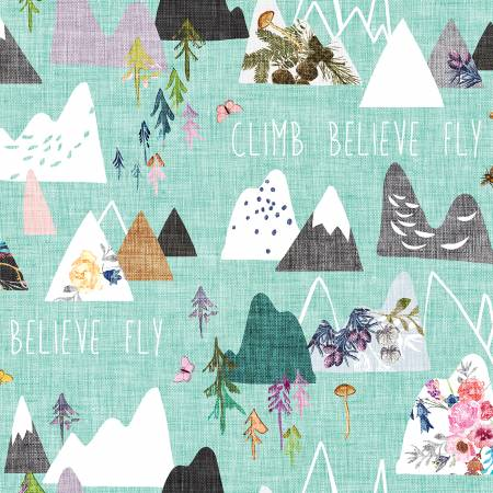 Forest Glade Turquoise Mountains Digitally Printed