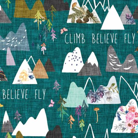 Forest Glade Teal Mountains Digitally Printed