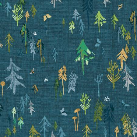 Trees on Dark Teal - Forest Glade Collection