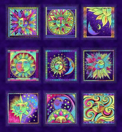 CLOTH- Celestial Magic Dark Purple 6in Blocks w/Metallic