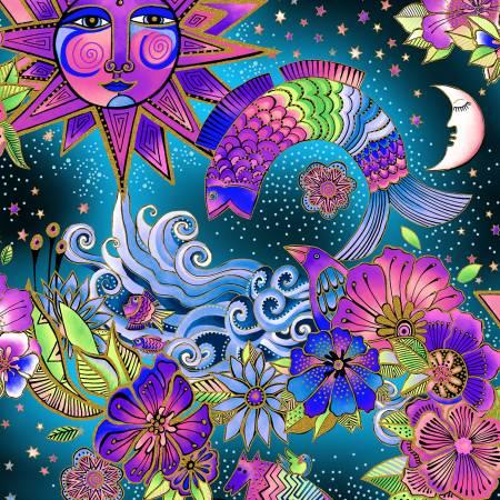 Blue & Pink Toile w/Metallic Celestial Magic by Laurel Burch