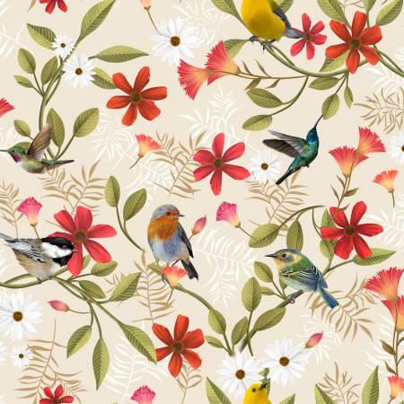 Y3228-11 Clothworks Canto Khaki Birds Digital