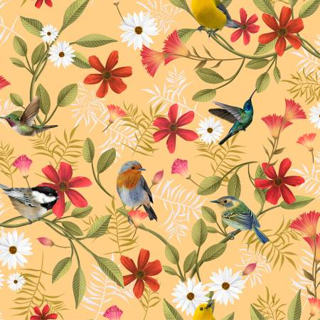 Y3228-67 Clothworks Canto Gold Birds Digital