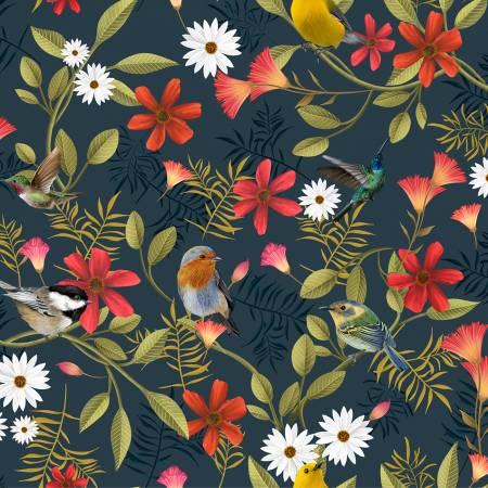 Y3288-7 Clothworks Canto Dark Grey Birds Digital