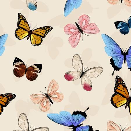 Y3230-11 Clothworks Canto Light Khaki Butterflies