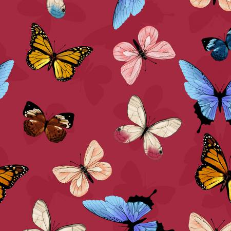 Y3230-4 Clothworks Canto Light Red Butterflies
