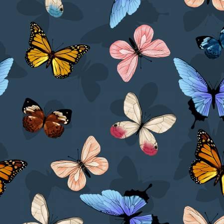 Y3230-7 Clothworks Canto Dark Grey Butterflies