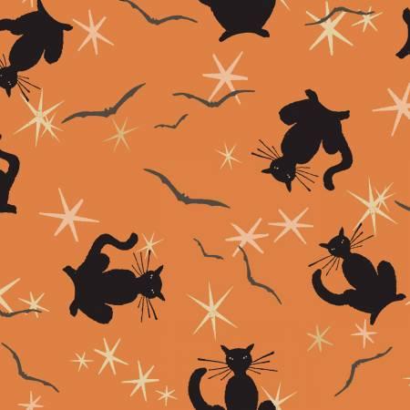Orange Halloween Black Cats