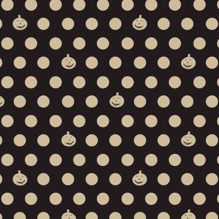 Retro Halloween - Pumpkin Dot - Black