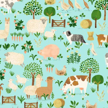 Dale Farm Toile (Light Aqua) by Rebecca Jones for Clothworks (Y3251-32)