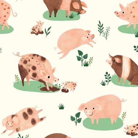 Dale Farm Happy Pigs (Light Cream) by Rebecca Jones for Clothworks (Y3252-2)