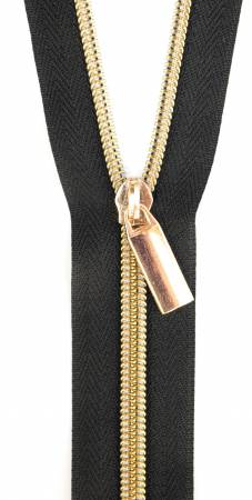 Zipper By The Yard #5 - Black tape with Gold teeth