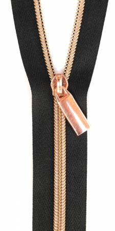 Zippers By The Yard Black Tape Rose Gold Teeth #5