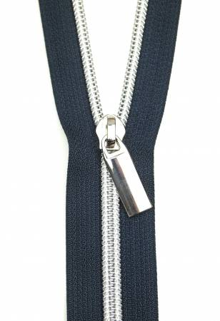 Navy Tape Nickel Teeth #5 Zippers By The Yard
