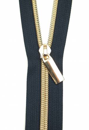 Sallie Tomato Zippers By The Yard Navy Tape Light Gold Teeth #5