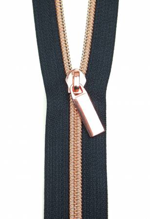 Zippers By The Yard Navy Tape Rose Gold Teeth #5